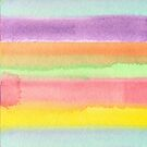 Watercolor Hand Painted Rainbow Stripes Background by Beverly Claire Kaiya