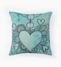 Love Heart Doodle Artwork Throw Pillow