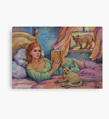 Girl Reading Cats Watching Canvas Print