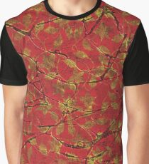 Women's Graphic T-Shirt Dress Red with Gold Leaf Graphic T-Shirt