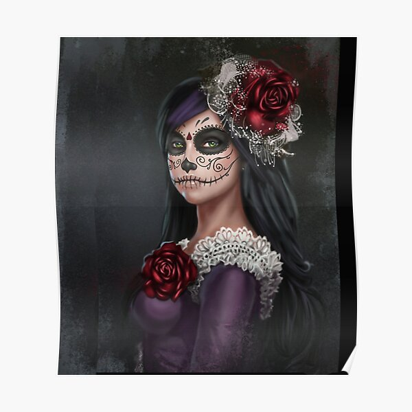 Sugar Skull Girl With Red Roses  Poster