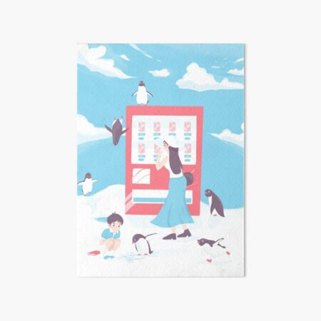 Penguin Highway Vending Machine Art Board Print