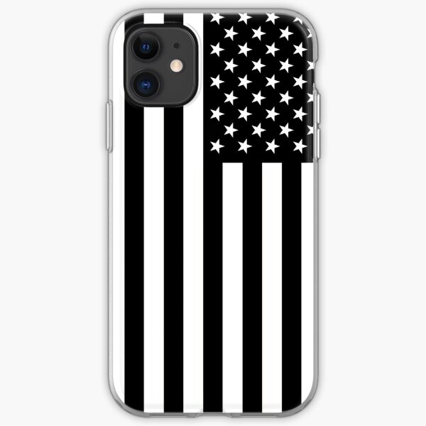 Black And White American Flag iPhone Soft Case