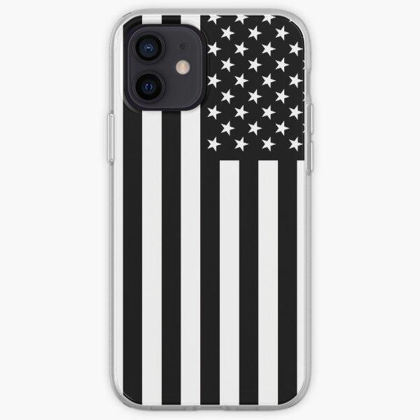 Bandera americana blanco y negro Funda blanda para iPhone