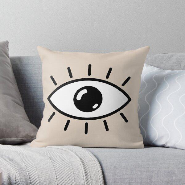 Open eye - beige Throw Pillow