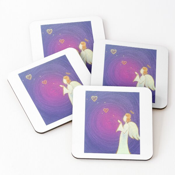 Angel Kisses To You Angel Wings Art Coasters (Set of 4)