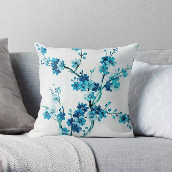 Blue cherry tree Throw Pillow