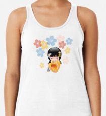 Japanese Summer Kokeshi Doll Racerback Tank Top