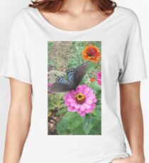 Butterfly on Zinnias Women's Relaxed Fit T-Shirt