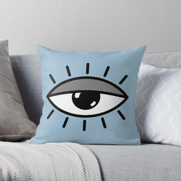 Half open eye - light blue Throw Pillow