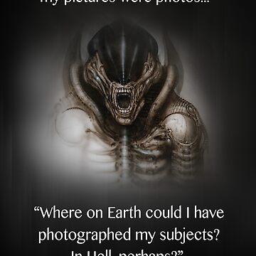 H.R. Giger Quote w/ '78 Alien Drawing (dark backgrounds only) by christensart