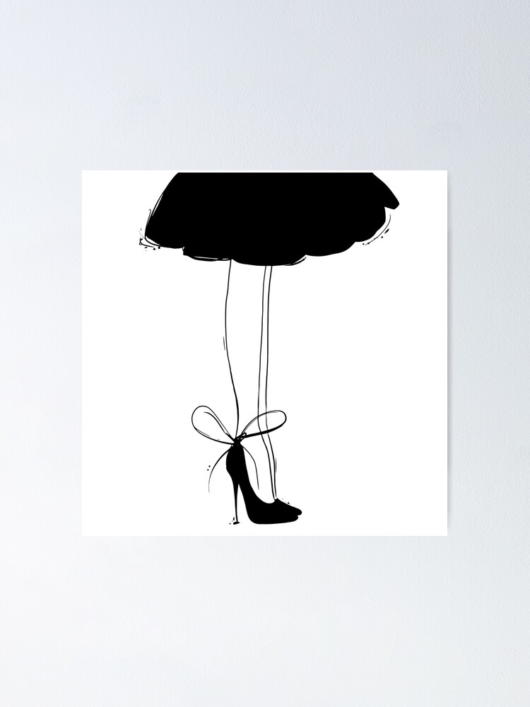 Alternate view of Black Dress Line Art Poster