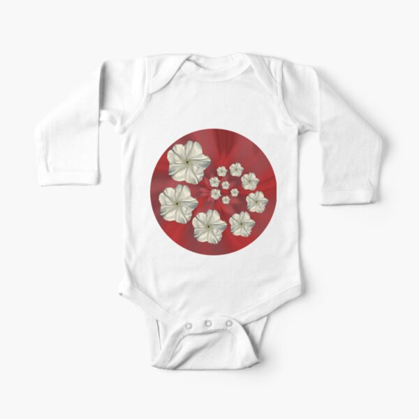 Spiral Moon Flower Red Swirl Long Sleeve Baby One-Piece