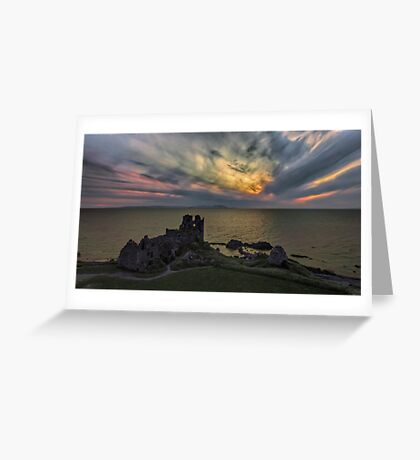Sunset blast over Dunure Castle Greeting Card