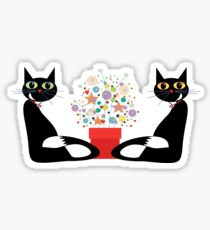 Two Cats With Flowers Sticker