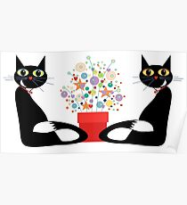 Two Cats With Flowers Poster