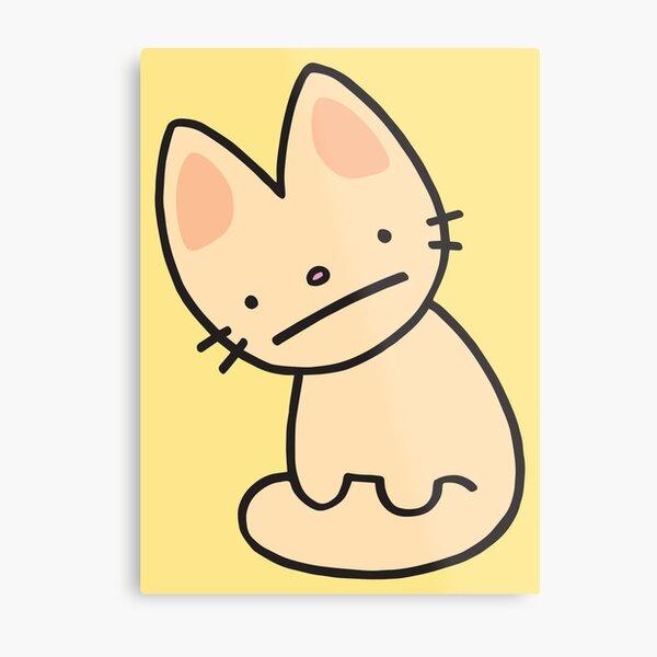 Fennec Cat - Sand on Lemon Cream Metal Print