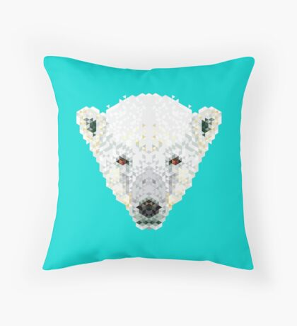 Triangle Pixels - Polar Bear Throw Pillow