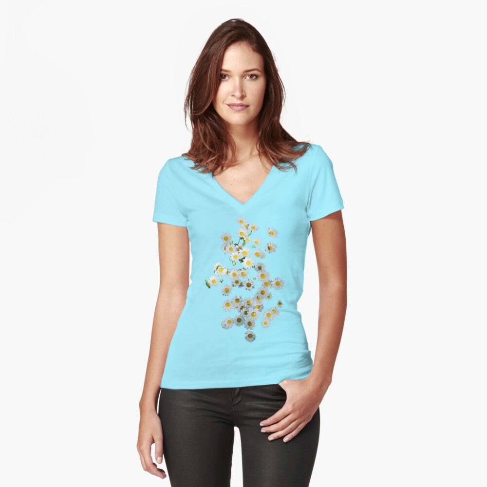 Riot of Spring Flowers Women's Fitted V-Neck T-Shirt Front