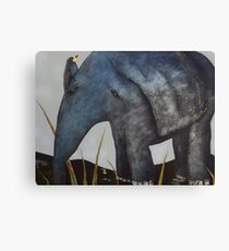 Bird on Baby Elephant Canvas Print