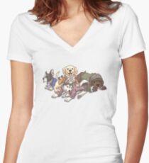 Hamilton Musical x Broadway Hunde Tailliertes T-Shirt mit V-Ausschnitt