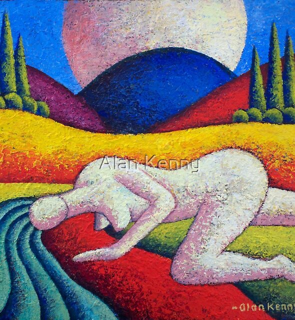 Nude in landscape, impasto,acrylic by Alan Kenny