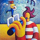 Two soft musicians with musical notes(impasto) acrylic by Alan Kenny