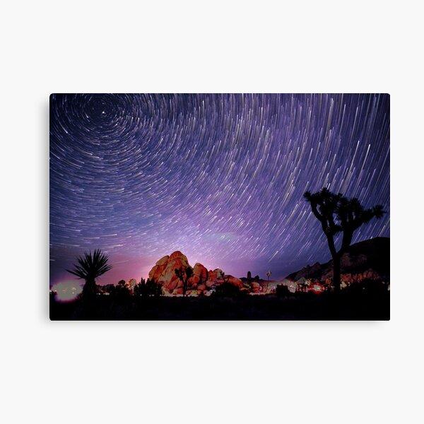 Amazing Galaxy Star Trails Spin Over Joshua Tree Canvas Print