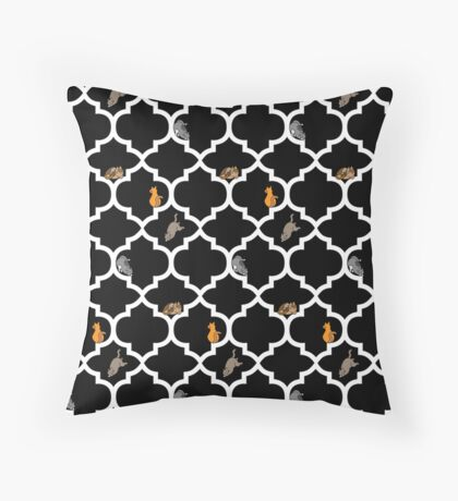 Cats On A Lattice - Black Throw Pillow