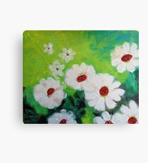 Abstract Daisies Acrylic Painting Canvas Print