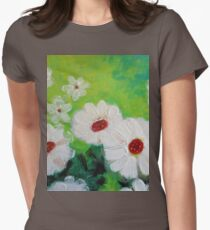 Abstract Daisies Acrylic Painting Womens Fitted T-Shirt
