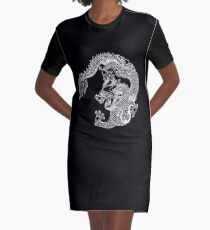 Asian Art White Dragon Graphic T-Shirt Dress