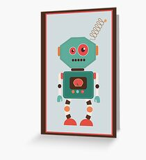 Fun Retro Robot Art Greeting Card