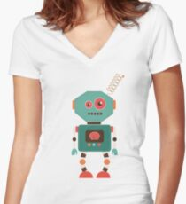 Fun Retro Robot Art Women's Fitted V-Neck T-Shirt