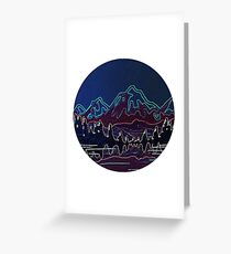 Neon Mountains Greeting Card