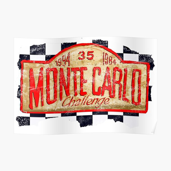 motor sport design for Monte Carlo sign on cut-out chequered flag    Poster