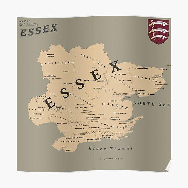 Mapa de Essex al estilo de Red Dead Redemption 2 Póster
