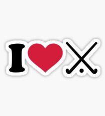 I love Field hockey clubs Sticker