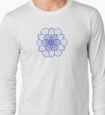Blue mandala flower on Bondi Beach Long Sleeve T-Shirt