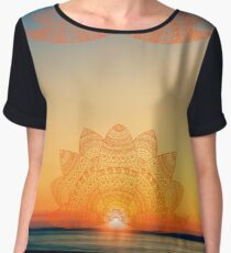 Orange-golden lotus doodle mandala on blurred sunset with sun flare Chiffon Top