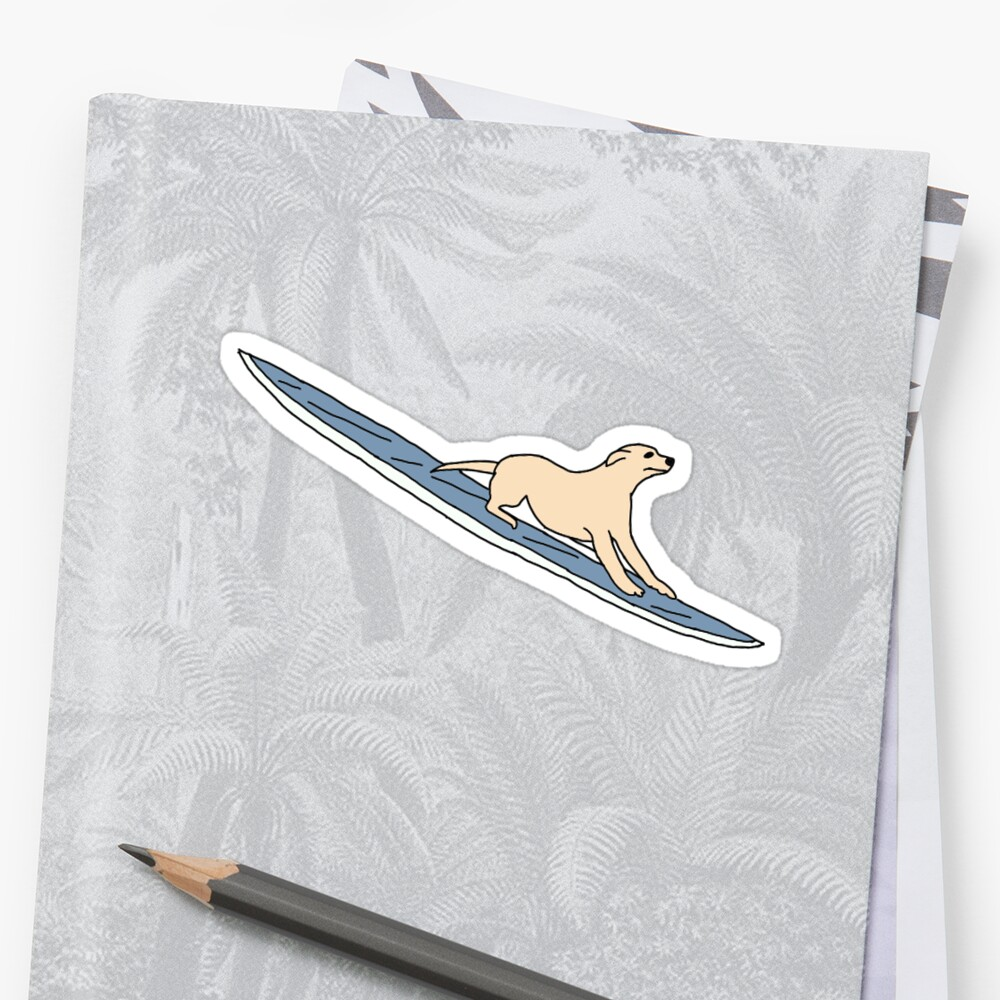dog on surfboard sticker by andilynnf