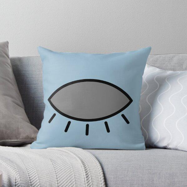 Closed eye - light blue Throw Pillow