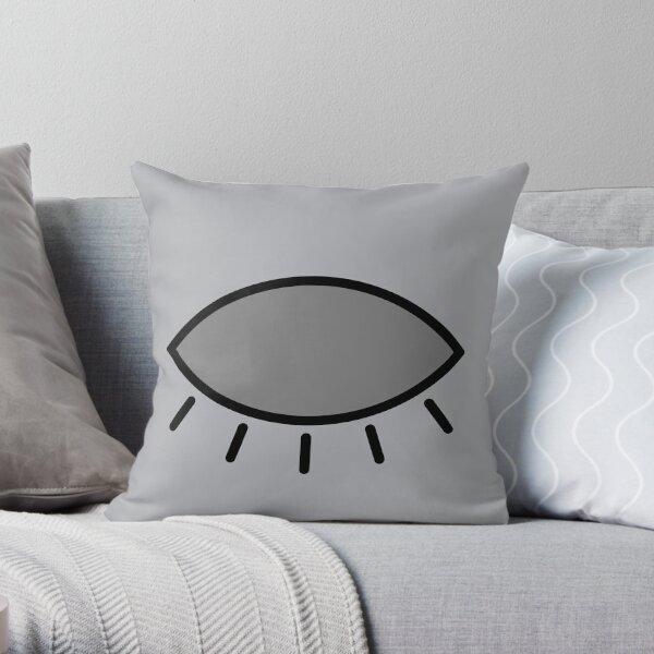 Closed eye - gray Throw Pillow