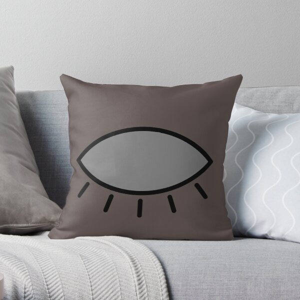 Closed eye - brown Throw Pillow