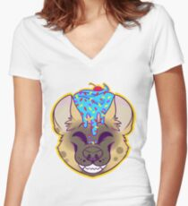 Cupcake Spotted Hyena Women's Fitted V-Neck T-Shirt