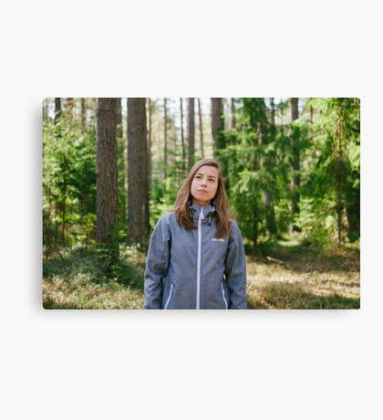 Selfportrait in the forest Canvas Print