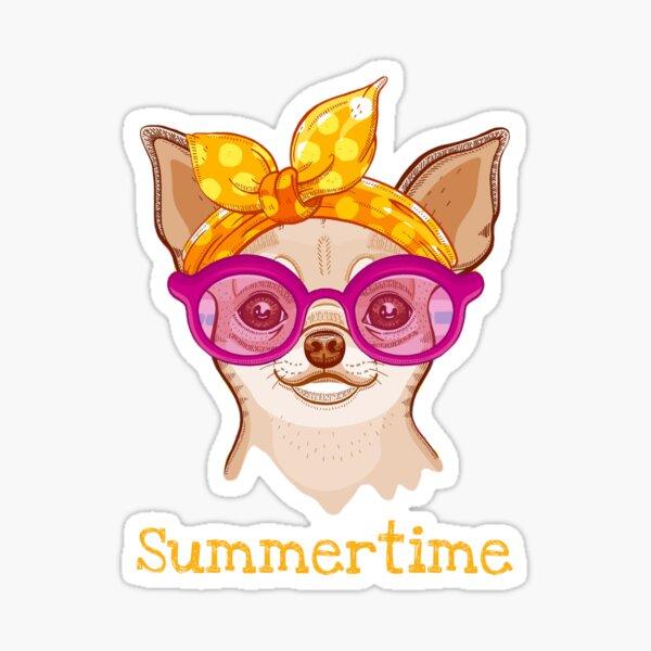 Chihuahua dog in fashion headband and glasses Sticker