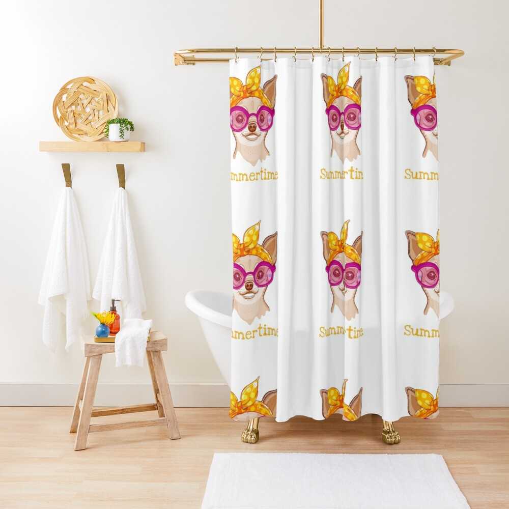 Chihuahua dog in fashion headband and glasses Shower Curtain