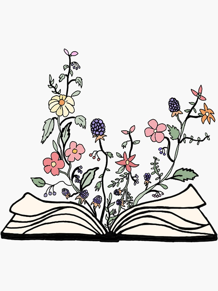 flowers growing from book  by andilynnf
