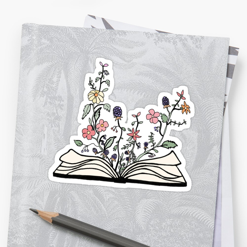 flowers growing from book  Sticker Front